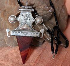 Antique Tuareg Pendant Pure Silver with Agath by TuaregJewelry, €348.00