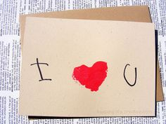 Simple Valentine card using DIY potato stamps