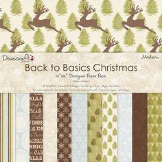 Papeles de scrapbooking Back to basics Christmas, motivos de Navidad. Marca Dovecraft.