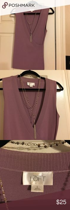 LOFT Sleeveless Wrap Top Feminine sleeveless wrap sweater top in lilac rayon/viscose blend. Very flattering and versatile. Great with a cami and black slacks or pencil skirt or dresses down with skinny jeans. Size small; in great condition. LOFT Tops Blouses