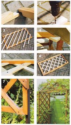 garden trellis with your hands Diy Outdoor Wood Projects, Diy Garden Projects, Garden Fence Panels, Garden Trellis, Garden Fences, Outdoor Cafe, House Plants Decor, Diy Home Repair, Garden Care