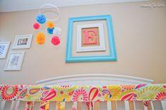 diy monogram above crib; framed monogram in nursery