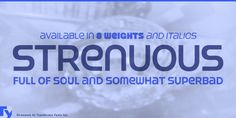Strenuous is a display, grunge and display sans font family. This typeface has eighteen styles and was published by Typodermic Fonts Inc. Creative Design, Web Design, Free Fonts Download, Font Free, Premium Fonts, Font Family, Cool Fonts, Typography, Scientists