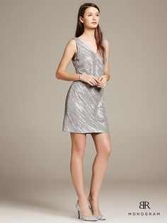 BR Monogram Sequin-Stripe Sheath Product Image