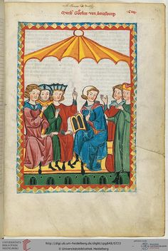 Buchmalerei Zürich: Gottfried v. Medieval Books, Medieval Life, Medieval Manuscript, Medieval Art, Illuminated Manuscript, 14th Century Clothing, Uni Heidelberg, Wax Tablet, Holy Roman Empire