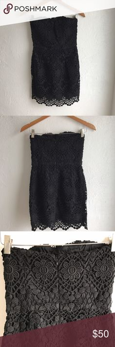 French Connection Lace Crochet Black Dress Black crochet lace strapless black dress. In New like condition. Worn once to a bridal shower. Must have for this wedding season! French Connection Dresses Strapless