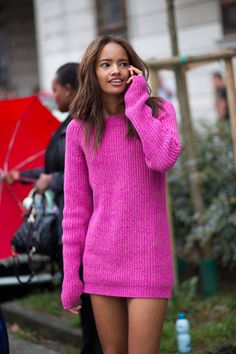 Hot neon pink. Ain't this gorgeous!  #WYLDstreetstyle #hotpinkknitwear #