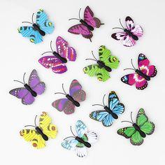 100 Pieces 3D PVC Artificial Butterfly Decor Wedding Decoration - Wedding Look