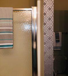 A🤲 peek-a-boo 🤲 stenciled wall completes this bathroom. Thanks for sharing Hilda! #stenciledwalls #iStencils #homedecor Stencil Wall Art, Custom Stencils, Peek A Boos, Blinds, Graffiti, Wall Lights, Curtains, Bathroom, Wallpaper