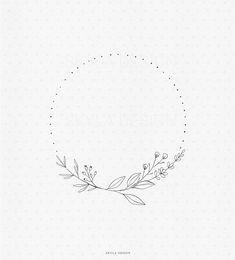 Line Art Flowers, Line Flower, Flower Circle, Flower Art, Bullet Journal Art, Bullet Journal Ideas Pages, Kranz Tattoo, Natur Tattoo Arm, Wreath Tattoo