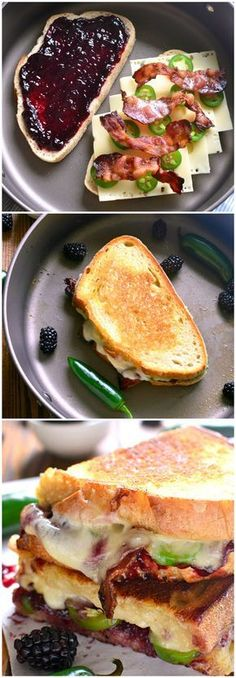 Blackberry Bacon Grilled Cheese is the perfect combination of savory and sweet! Swiss cheese, blackberry jam jalapenos and bacon are in this best grilled cheese recipe! Think Food, I Love Food, Good Food, Yummy Food, Best Appetizers, Appetizer Recipes, Food Porn, Soup And Sandwich, Grilled Sandwich Ideas