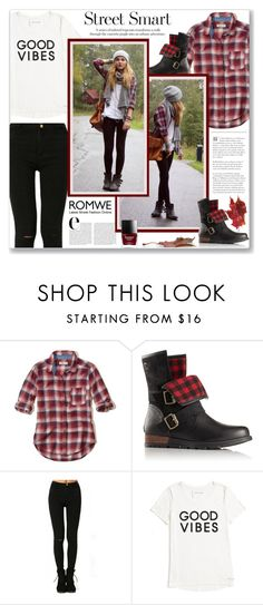 """""""Street Smart"""" by viebunny ❤ liked on Polyvore featuring Hollister Co., SOREL, Tommy Hilfiger, StreetStyle, denim, plaid and shein"""