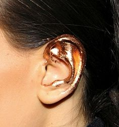 Avant-garde makeup / creative makeup / gold / ears → Cédric Charlier Fall 2012