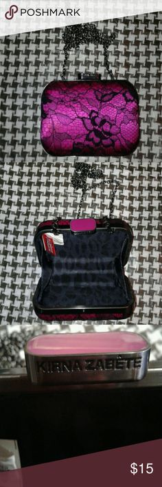 Kirna Zabete Clutch Cute!Small hot pink with black lace over the outside, medal frame with shoulder chain. Kirna Zabete Bags