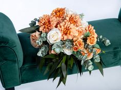 A stunning addition to make your special day one to remember. This orange bouquet not only looks fresh and realistic but will be a keepsake for a lifetime without the worries of wilting fresh flowers. This boho bouquet is made with high quality silk flowers such roses, dahlia, eucalyptus and preserved greenery. Flower Girl Bouquet, Bridal Bouquet Fall, Silk Flower Bouquets, Fall Wedding Bouquets, Flower Girl Basket, Bride Bouquets, Silk Flowers, Wedding Ring Box