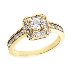 Justice Wedding Collection Justice Wedding Collection Diamond Halo Vintage Inspired Milgrain Engagement Ring #justicejewelers