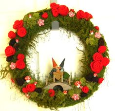 Gnome is Where the Heart Is OOAK: 12 inch Felt, Moss, and Yarn Wreath