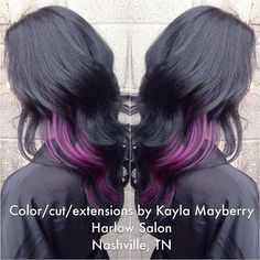 Raven Black and Peekaboo Purple – Hair Colors Ideas - All For Hair Color Trending Bright Hair Colors, Hair Color Purple, Hair Color For Black Hair, Pink Hair, Black Colors, Bright Purple, Purple Colors, Purple Ombre, Ombre Hair