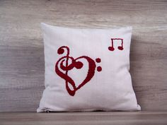 Music art charms cute beige red embroidery cross stitch decorative pillow 16 x 16 (40 x 40 cm), $29 https://www.etsy.com/listing/271740460/music-art-charms-cute-beige-red