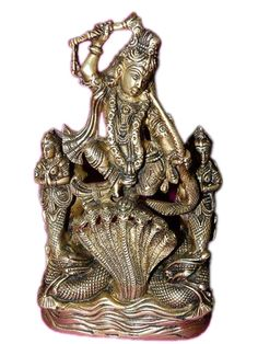 Brass Statue of Krishna Dancing Over the Serpent Kaliya from India  $195.00