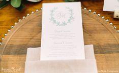 Laurel Monogram Wedding Menu Dawn Kelly Designs Nantucket | Floral Design: Soiree Floral (www.soireefloral.com) | Variegated Viridity - Soiree Floral | Rentals: New England Country Rentals (www.newenglandcountryrentals.com) Photography: Gina Meola (www.ginameola.com) Nantucket Wedding Venue: The Westmoor Club (www.thewestmoorclub.com)