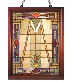 Amazon.com: Tiffany-style Mission Glass Window Panel: Furniture & Decor