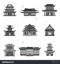 Chinese house ancient temples traditional oriental buildings black icons set isolated vector illustration