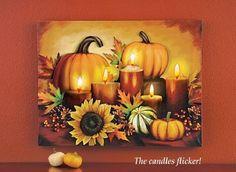 Lighted Harvest Pumpkin Canvas Wall Art Hanging Thanksgiving Fall Autumn Decor…