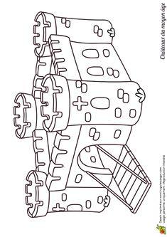 Coloriage pour enfants d'un dessin de château fort