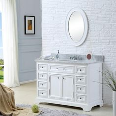 Update your bathroom with the simply elegant design of this single sink vanity set. The matching 4-inch backsplash completes the attractive ensemble. $1000