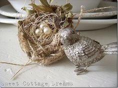 Burlap based nest with pearls for eggs and yard clippings...this is so cute!