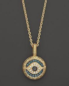 14k Yellow Gold Blue Enamel Diamond Cut Evil Eye Pendant Necklace w Cable Chain