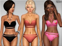 -a unique and stylish halter neck bandage bikini for your sims to look real cool at the beach Found in TSR Category 'Sims 3 Female Clothing'