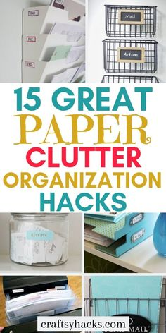 Try these organization hacks and organize paper clutter in the office much faster. Having these little organizing tips will help you to keep all the important documents in place. 15 Ways to Organize Paper Clutter – Craftsy Hacks Organisation Hacks, Small Office Organization, Receipt Organization, Organizing Hacks, Organizing Paperwork, Clutter Organization, Organizing Your Home, Organize Receipts, Organizing Documents
