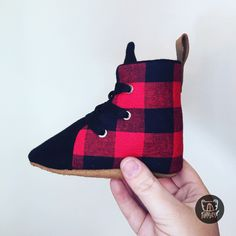 Buffalo Plaid Red and Black Hightop Boots Soft Sole Baby Toddler Shoes Lace Up Toddler Sneakers, Toddler Shoes, Baby Booties, Baby Shoes, Hightop Shoes, Boxing Boots, Black Tongue, Mask For Kids, Buffalo Plaid