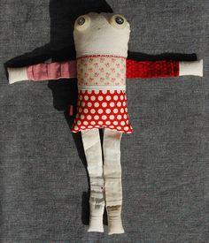 Les triplettes - Rosa 3 - poupée de chiffon aimantée - faite à la main à Montréal - 2014 - Anouk Kouri - vendue
