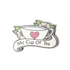 My Cup OF Tea Wooden Brooch