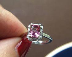 3 Carat Rhodolite Garnet Engagement Ring Baguette Diamond Ring | Etsy Baguette Engagement Ring, Baguette Diamond Rings, Engagement Rings, Pink Stone Rings, White Gold Rings, Diamond Image, Pink Ring, 2 Carat, Colored Diamonds