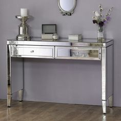 Valencia Mirrored 2 Drawer Console Table