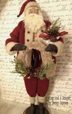 Christmas Folk Art Santa Claus...