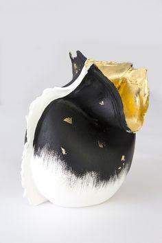 © Artist: Mo  Cornelisse, melting vases (black, gold dots) 35cm x 25cm see at SilleKunst.nl