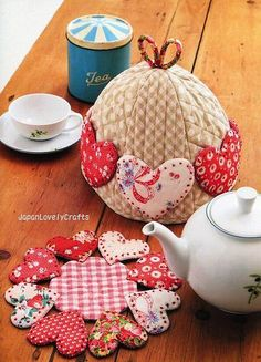Hearts for tea time, I love the tea cosy for the teapot