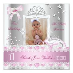 Shop Little Princess First Birthday Party Photo Invitation created by Zizzago. Personalize it with photos & text or purchase as is! Princess First Birthday, Princess Birthday Invitations, Baby Girl 1st Birthday, Princess Theme, Happy Birthday, Disney Princess, Photo Invitations, Pink Invitations, Invites