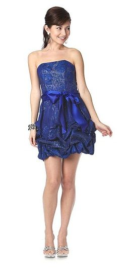 Royal Blue Shimmering Sparkly Party Dress With Ribbon Bow Bubble Hem Ruched