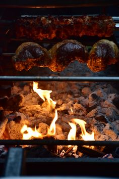 Delicious picanha beef and British lamb cooked over hot coals on our Brazilian BBQ rotisserie machine