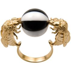 Delfina Delettrez Double Bee Ring (2.730 VEF) ❤ liked on Polyvore featuring jewelry, rings, accessories, multi, marble jewelry, white ring, bee jewelry, white jewelry and bumble bee jewelry