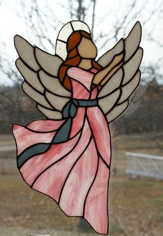 ∑∑☪ Angel Wings :: Pink Angel Suncatcher by StainedGlassByBev on Etsy