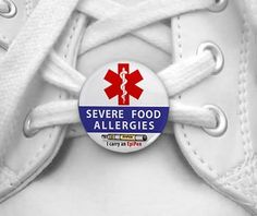 SEVERE FOOD ALLERGIES I Carry an EpiPen Medical Alert Pair of 1 inch Shoe Charm Tags by Creative Clam, http://www.amazon.com/dp/B0064MLQ5Q/ref=cm_sw_r_pi_dp_1msMrb1F48Y2J