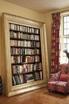 Interesting bookshelves - looks like a very large frame leaning against wall ... Mark Taylor Design - [combo of parts of two related captions]