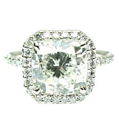 1stdibs - 3 carat Cushion Diamond in Micropave Frame Ring explore items from 1,700  global dealers at 1stdibs.com